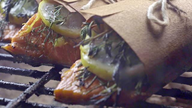 Cedar Plank Salmon with Lemon and Herbs and Bacon Wrapped Asparagus