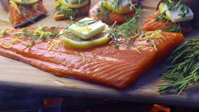 cedar plank salmon with lemon and herbs - plank stock videos & royalty-free footage