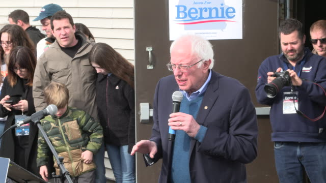 democratic presidential candidate senator bernie sanders speaks to supporters at the cedar rapids field office as he campaigns on the eve of the iowa... - iowa stock videos & royalty-free footage