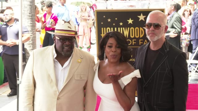 cedric the entertainer niecy nash and ryan murphy at the niecy nash honored with a star on the hollywood walk of fame on july 11 2018 in hollywood... - walk of fame stock videos & royalty-free footage