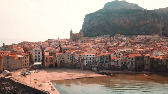 cefalu beach, sicily. - sicily stock videos & royalty-free footage