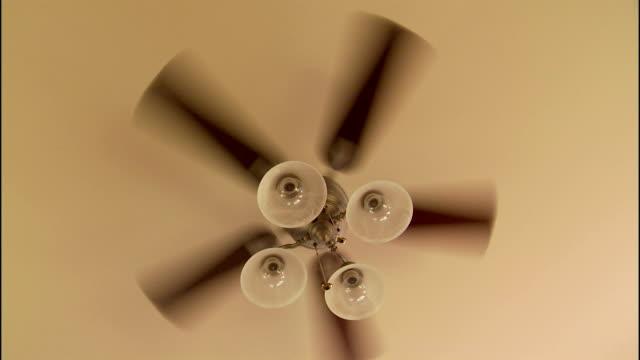 vídeos de stock, filmes e b-roll de a ceiling fan spins overhead. - ventilador de teto