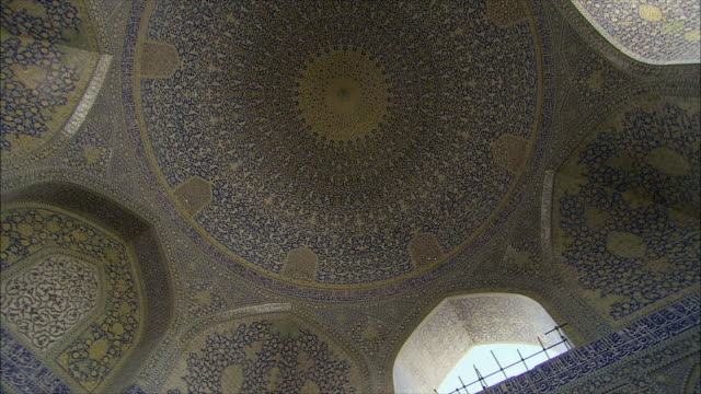 ms la pan ceiling in imam khomeini mosque interior, isfahan, iran - arabic script stock videos and b-roll footage