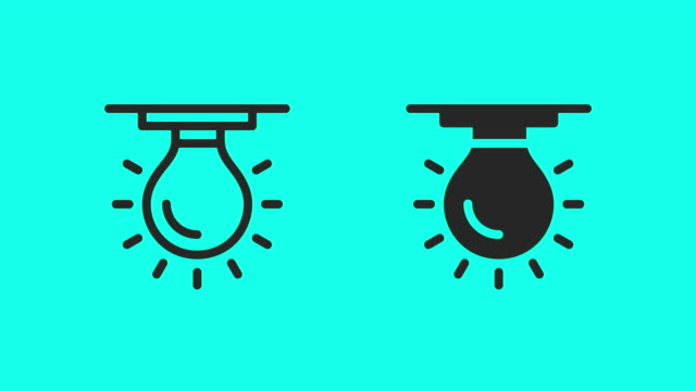 ceiling light bulb icons - vector animate - electric lamp stock videos & royalty-free footage