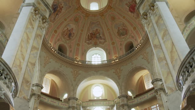 ms tu ceiling of frauenkirche / dresden, germany - dresden frauenkirche stock videos & royalty-free footage