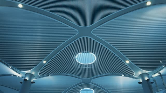 ceiling of modern building - turquoise colored stock videos & royalty-free footage