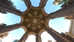 Ceiling of Palace of Fine Arts is a monumental structure, San Francisco, USA