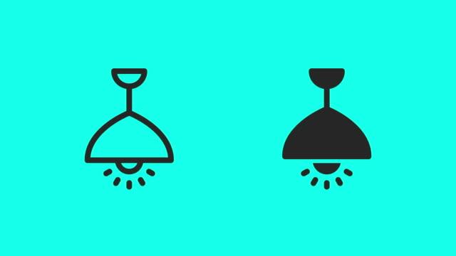 vidéos et rushes de icônes de lampe de pendentif de plafond - vector animé - lampe électrique