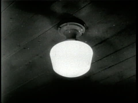 a ceilingmounted light fixture with a glass shade lights up - household fixture stock videos and b-roll footage