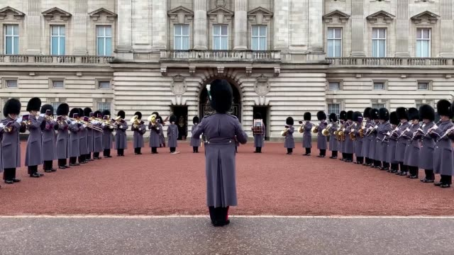 stockvideo's en b-roll-footage met celebrating a world in union ahead of the rugby world cup final tomorrow in japan the band of the welsh guards performed the iconic holst tune during... - britse leger