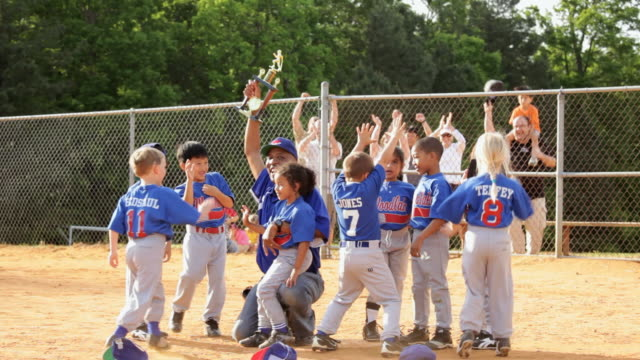 ms celebrating baseball league championship  / richmond, virginia, united states  - baseball sport stock videos & royalty-free footage