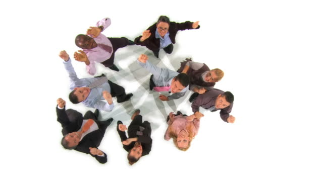 HD CRANE SLOW-MOTION: Celebrating Business Team