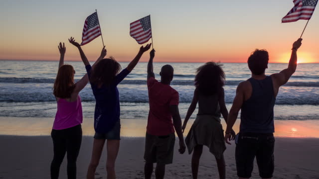celebrating on the beach - fourth of july stock videos & royalty-free footage