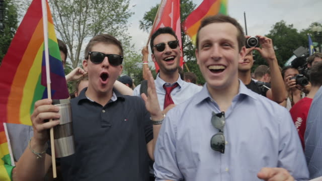 Celebration in front of the Supreme Court after justices rule in favor of gay marriage across the United States