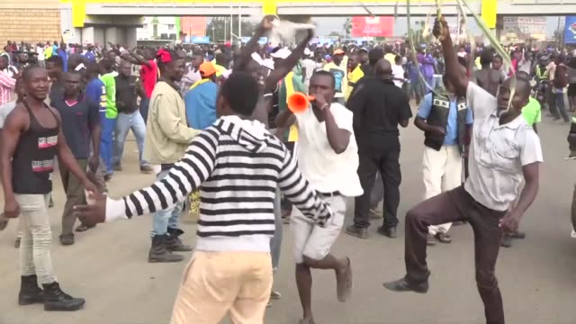 celebrations break out in kisumu western kenya after opposition coalition the national super alliance demands its candidate raila odinga be declared... - raila odinga stock videos and b-roll footage