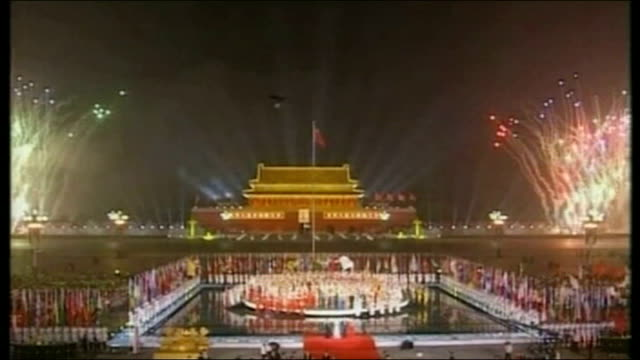 celebrations marking 2008 olympic games countdown / games threatened by pollution; night firework display to celebrate start of official countdown to... - 2008年北京夏季オリンピック点の映像素材/bロール