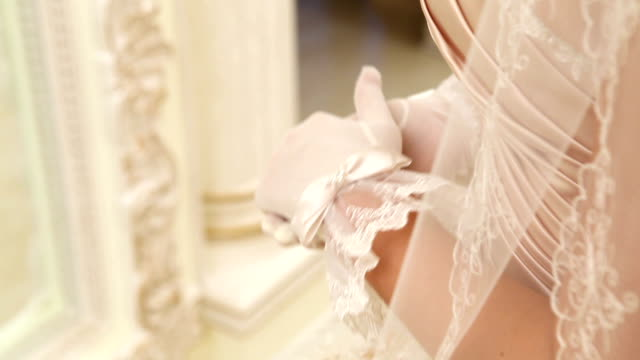 celebrations. nervous bride rubbing her hands. - formal glove stock videos and b-roll footage