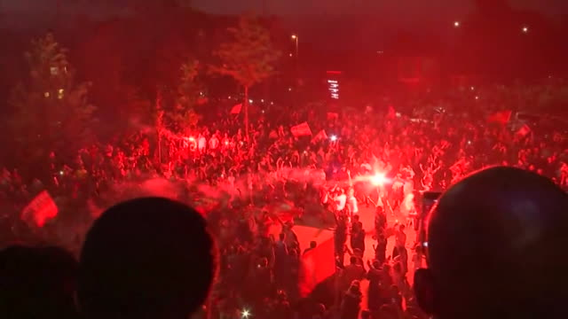 celebrations outside anfield after liverpool win the premier league - number stock videos & royalty-free footage