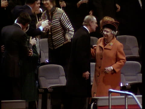celebrations; pool greenwich: millennium dome: int prime minister tony blair mp standing with queen elizabeth ii and prince philip at midnight tony... - the o2 england stock videos & royalty-free footage