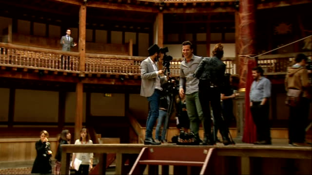Celebrations to mark William Shakespeare's 450th birthday Globe Theatre Reporter to camera Actors sword fighting on stage Bill Buckhurst setup shot...