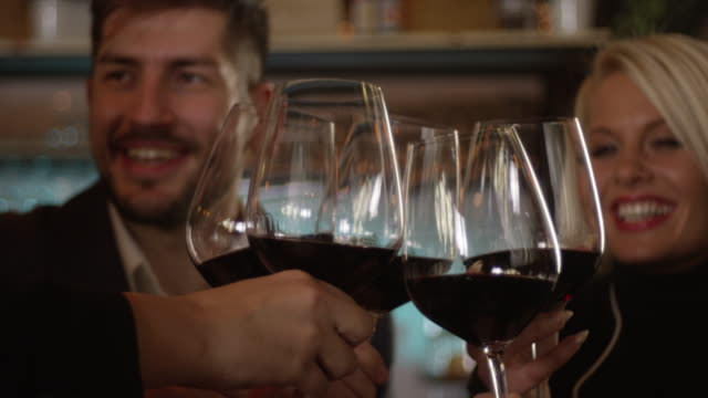 celebratory toast closeup slow motion 4k - wine stock videos & royalty-free footage