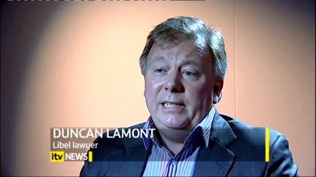 celebrities and lawyers campaign to reform libel laws; duncan lamont interview sot - 文書による名誉棄損点の映像素材/bロール