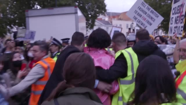 celebrities and models including kate moss, stormzy, jourdan dunn, and naomi campbell were confronted by animal rights protesters as they entered a... - protestor stock videos & royalty-free footage