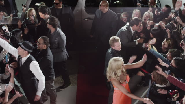ws ha celebrities arriving and shaking hands at red carpet event / provo,utah,usa - fame stock videos & royalty-free footage