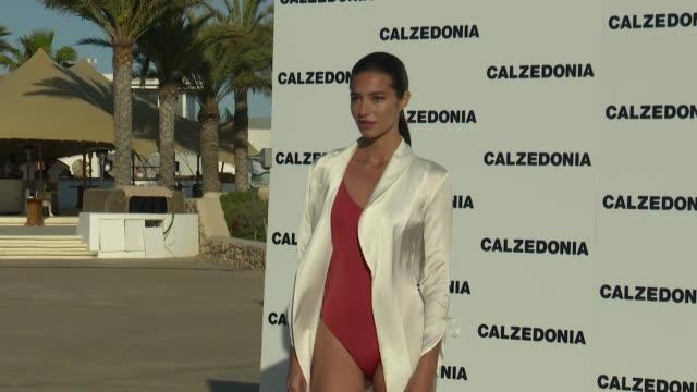 celebrities attend calzedonia fashion show photocall in ibiza - クララ・アロンソ点の映像素材/bロール