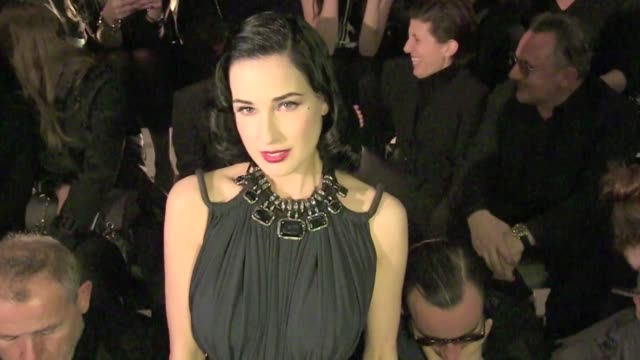 celebrities attending the lanvin readytowear fall/winter 2012 show as part of paris fashion week among them nathalie baye dita von teese jessica alba... - attending stock videos and b-roll footage