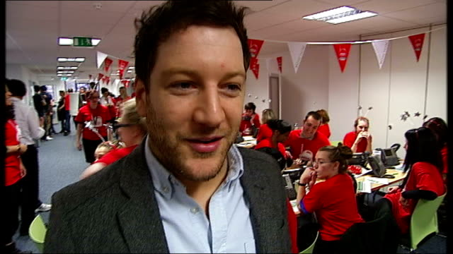Celebrities help auction prizes for 25th anniversary of Childline Matt Cardle interview with reporter in shot SOT Will be quite packed bubble on...