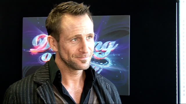 celebrities interviewed at launch of 'dancing on ice' television series jeremy sheffield interview sot on the hindrance of being tall / on trying too... - menschlicher muskel stock-videos und b-roll-filmmaterial