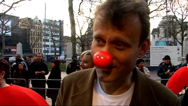 Celebrities launch 2009 Comic Relief Hugh Dennis interview on red carpet SOT