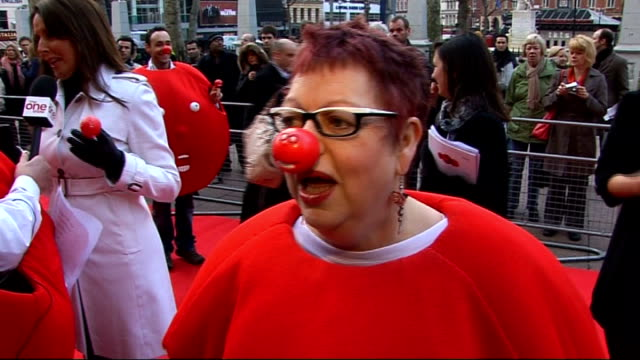 Celebrities launch 2009 Comic Relief Jo Brand interview on red carpet SOT/ Hugh Dennis talking to press on red carpet/ Jo Brand photocall on red...