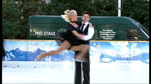 celebrities launch 'dancing on ice' television series england london natural history museum ext **music heard sot** sarah greene ice skating with... - sarah greene presenter stock videos and b-roll footage