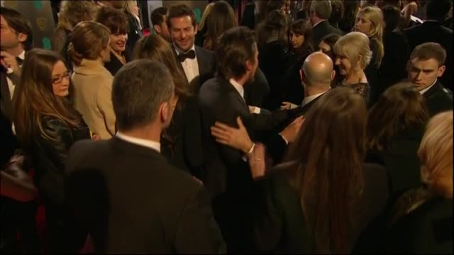 celebrities mingle and chat on the red carpet of the baftas 2014 - 2014 stock videos & royalty-free footage