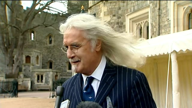 celebrity arrivals at windsor castle; england: berkshire: windsor castle: ext julian fellowes along / interview sot billy connolly along / interview... - penelope keith stock-videos und b-roll-filmmaterial