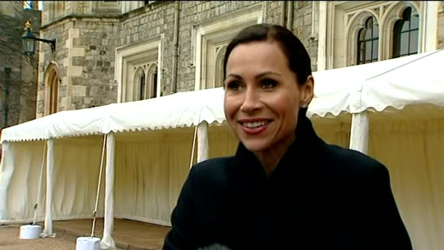 celebrity arrivals at windsor castle minnie driver along / interview sot olivia colman along james nesbitt along / interview sot richard curtis and... - minnie driver stock videos and b-roll footage