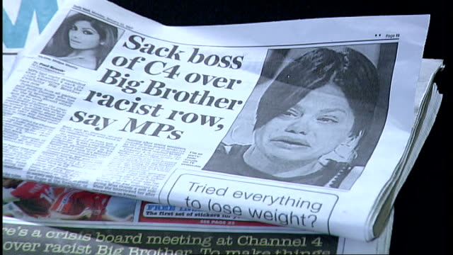 vídeos de stock, filmes e b-roll de 'celebrity big brother' racist bullying row channel 4 to launch review newspaper with headline 'sack boss of c4 over big brother racist row say mps'... - big brother