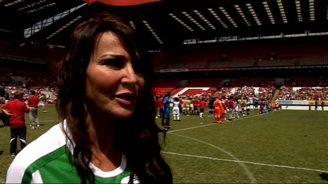 interviews and general views lizzie cundy along and greeting reporter lizzie cundy interiew sot on soccer 6 / her upcoming work / working at cannes... - vida no mar stock videos & royalty-free footage