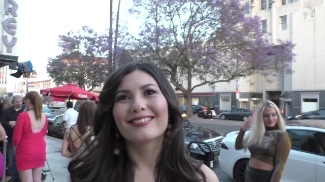 celeste thorson talks about her new movie treasure hunters outside the babes for boobs at el rey theatre in hollywood in celebrity sightings in los... - 宝探し点の映像素材/bロール