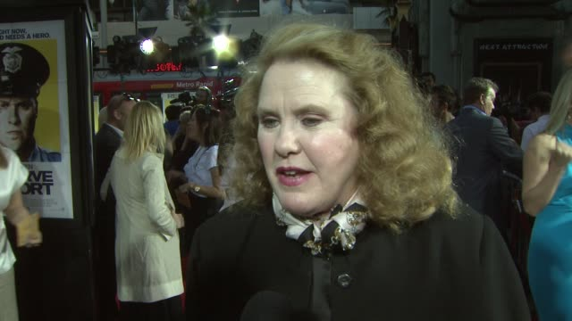 celia weston on working with seth rogen and her reaction on how he didn't read the script before agreeing to the movie at the 'observe and report'... - seth rogen stock videos and b-roll footage