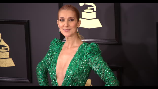 celine dion at 59th annual grammy awards arrivals at staples center on february 12 2017 in los angeles california 4k - céline dion stock videos & royalty-free footage