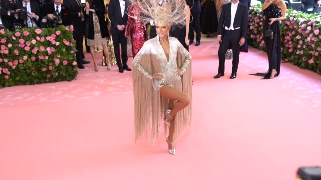 celine dion at the 2019 met gala celebrating camp notes on fashion arrivals at metropolitan museum of art on may 06 2019 in new york city - céline dion stock videos & royalty-free footage