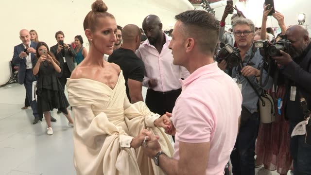 celine dion backstage after the alexandre vauthier couture fall winter 2019 fashion show in paris tuesday, july 2nd, 2019. paris, france - backstage stock videos & royalty-free footage