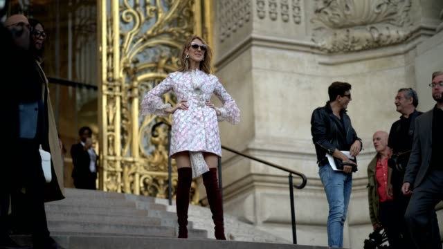 celine dion is posing in front of the photographers, after the giambattista valli show, during paris fashion week - haute couture fall/winter... - fashion week stock videos & royalty-free footage