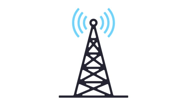cell site line icon animation - radio stock videos & royalty-free footage