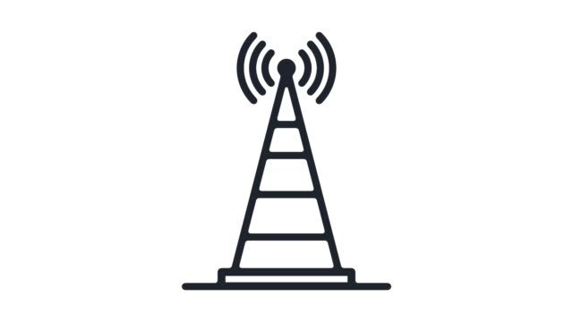 cell tower range line icon animation with alpha - alpha cell stock videos & royalty-free footage