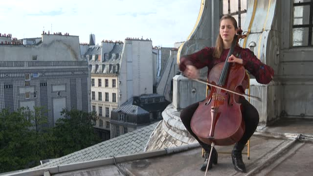 FRA: Camille Thomas, rooftop cellist bringing beauty to locked-down Paris