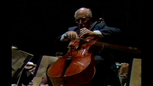 cellist mstislav rostropovich dies aged 80 tx london royal festival hall int mstislav rostropovich playing cello as rehearses with the london... - mstislav rostropovich stock videos & royalty-free footage